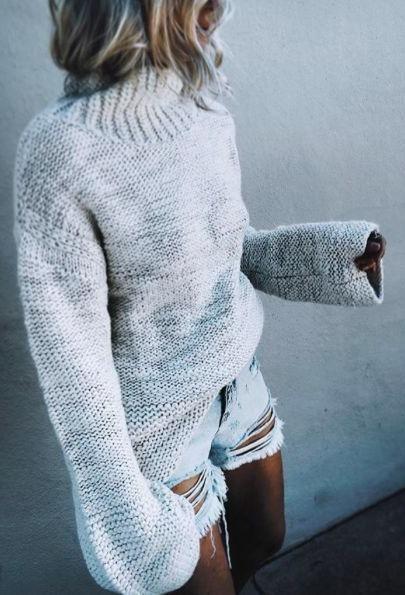 oversized knit + denim shorts.