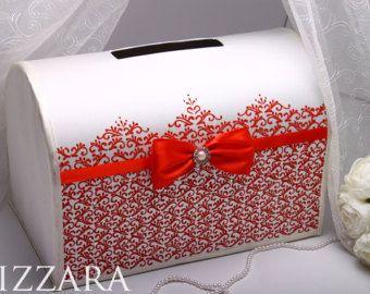 Card box for wedding reception Red wedding Create wedding card box Red white wedding ideas Wedding gift box card holder Red wedding colors
