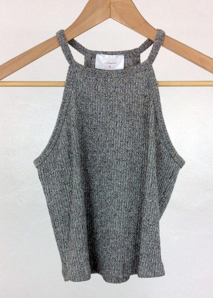 heather grey high neck knit crop top