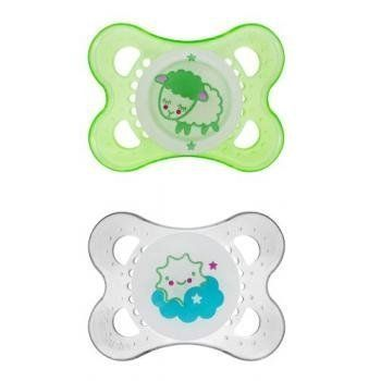 MAM Glow In The Dark Silicone Pacifiers 06 Months Non BPA ...