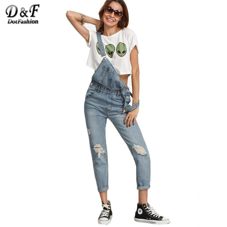 Dotfashion Ripped Batu Mencuci Denim Jumpsuits Keseluruhan Jeans Wanita Lucu Memakai Vintage Tanpa Lengan dengan Kantong