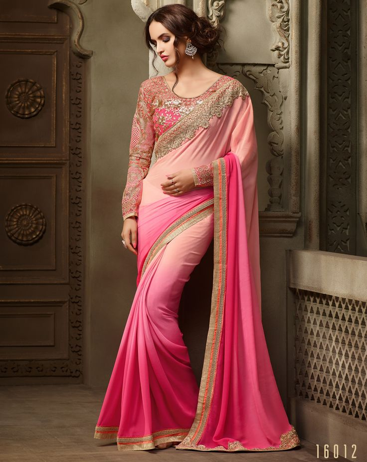 #Lalgulal #Pink-Light Pink #Georgette Embroidery #DesignerBlouse #Partywear #Bridemate #Saree. Buy Now :- http://www.lalgulal.com/sarees/pink-light-pink-georgette-embroidery-designer-blouse-partywear-bridemate-saree-687 To Order Visit our #Website or You can Call or #Whatsapp us on +91-95121-50402.  #COD & #FreeShipping Available only in India.
