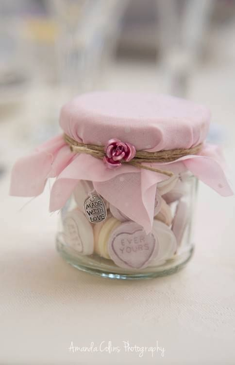 Shabby chic wedding favours, various designs