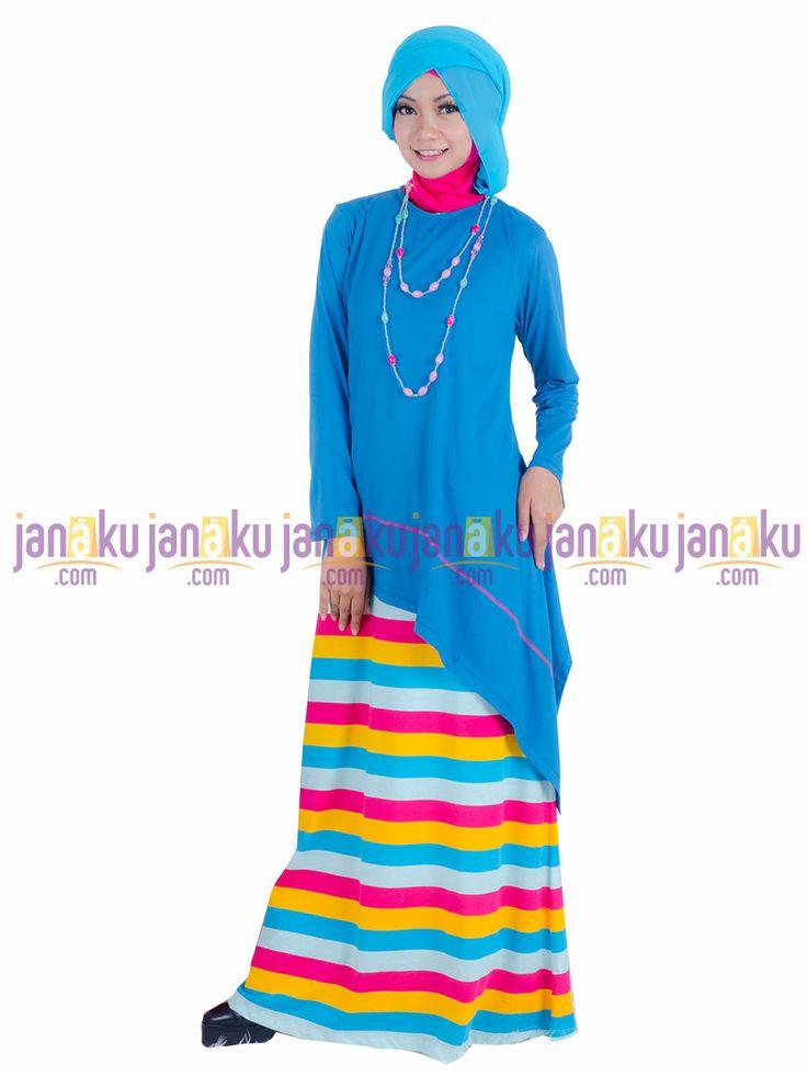 Vannara 1113319 - Busana muslim gamis tanpa lengan motif garis dengan bahan kaos yang nyaman di pakai