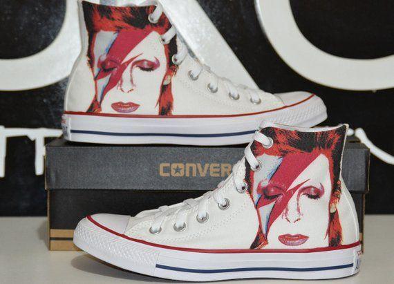 7ddcc1a087de3 David Bowie custom converse / custom shoes / sneakers in 2019 ...