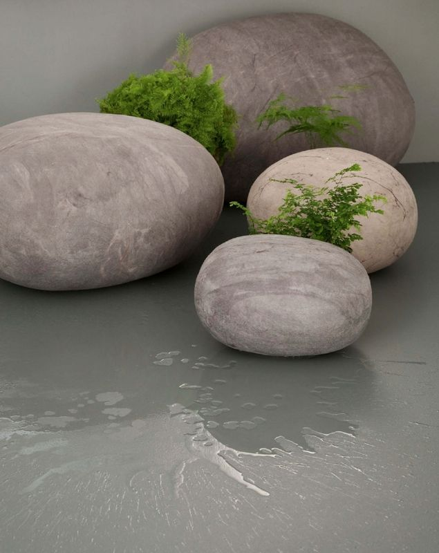 Big felt rocks ottoman bean bag sized for the home for Felted wool boulders