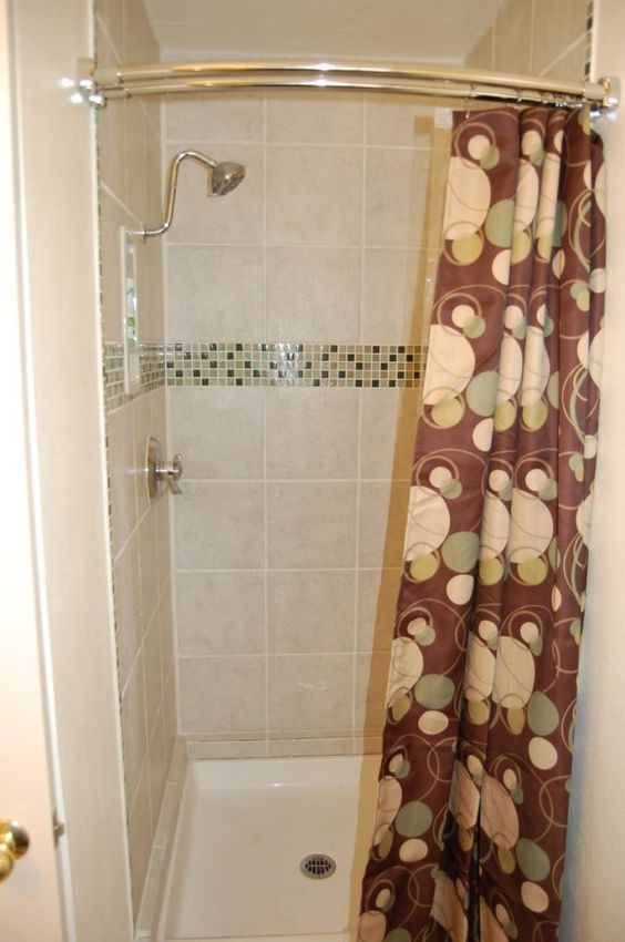 Curved Shower Curtain Rod For Small Shower Stall In 2019 Small Shower Stalls Shower Curtain