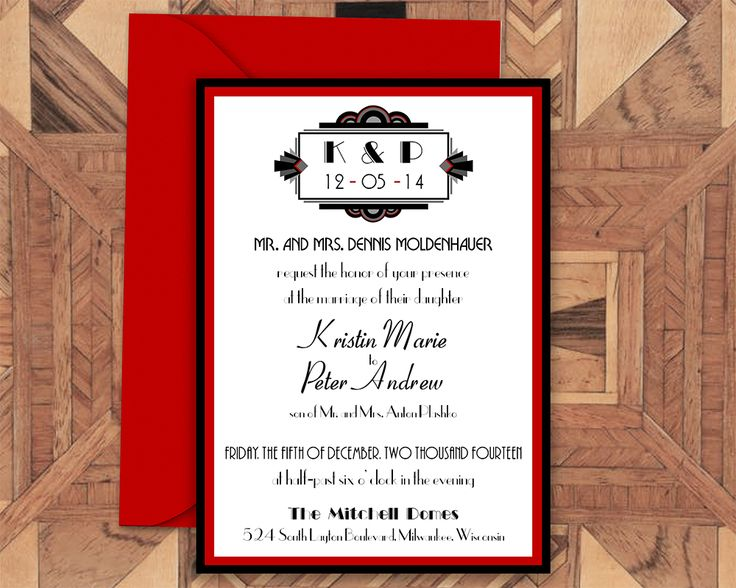 The invitation for our Art Deco invitation suite, now as new print-your-own invitations available on Etsy  Printable Wedding Invitation- Art Deco, Gatsby, 1920s, Wedding Invitation, Invitation Suite, Wedding Invite