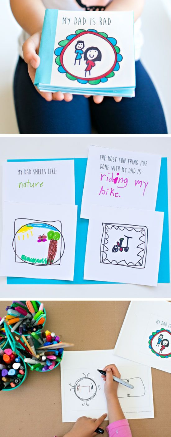 Kid Made Free Printable Fathers Day Book | Easy Fathers Day Crafts for Kids to Make | DIY Birthday Gifts for Dad from Kids
