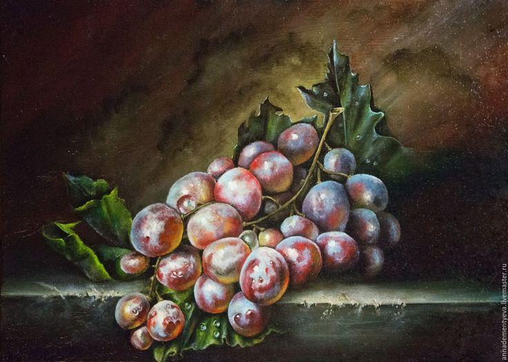 """Купить картина """"Виноград"""" - комбинированный, натюрморт, виноград, ягоды, классика, подарок, живопись маслом"""