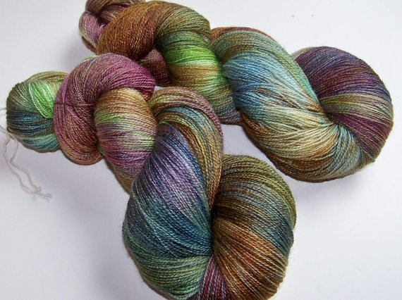 Hand Painted BFL and Silk Lace Weight  by SeeJayneKnitYarns, $36.00