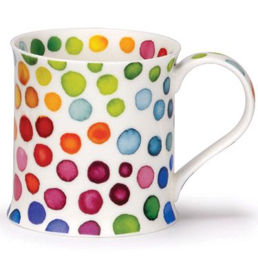 Dunoon's Bedazzled Collection...love the colours! rainbow polka dots coffee cup