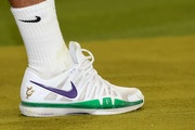 A view of Roger Federer's shoe during his Gentlemen's Singles final match against Andy Murray of Great Britain on day thirteen of the Wimbledon Lawn Tennis Championships at the All England Lawn Tennis and Croquet Club on July 8, 2012 in London, England.