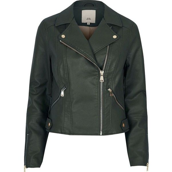 River Island Dark green faux leather biker jacket ($120) ❤ liked on Polyvore featuring outerwear, jackets, coats / jackets, green, women, green moto jacket, motorcycle jacket, biker jackets, green biker jacket and vegan leather jacket