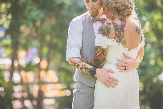 Tattooed bride and groom portraits.