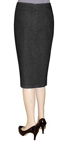 a15cb66e419 Baby O Women s Below The Knee Stretch Denim Pencil Skirt