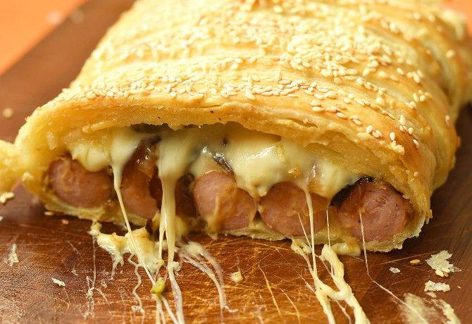 Hot dog v lístkovom ceste - Receptik.sk