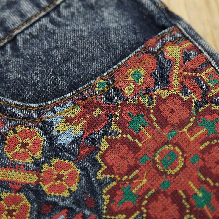LIEBO 2016 лето новое поступление старинные этнические все матч джинсовые середине талии вышивка цветочные джинсы шорты женщин 51152282