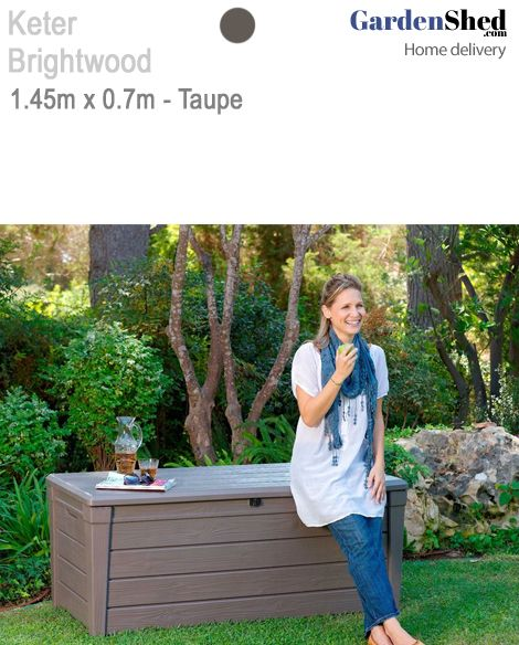 Keter Garden Shed $277  • 2 year warranty.  Maintenance Free – Too Easy!    BrandKeter  ModelBrightwood 17194454EBR  Size1.45m(w) x 0.7m(d) x 0.6m(h)  ColoursBrown            Width1.45m  Depth0.7m  Height0.6m  Door TypeTop Hinged  Roof Type  DoorsHinged