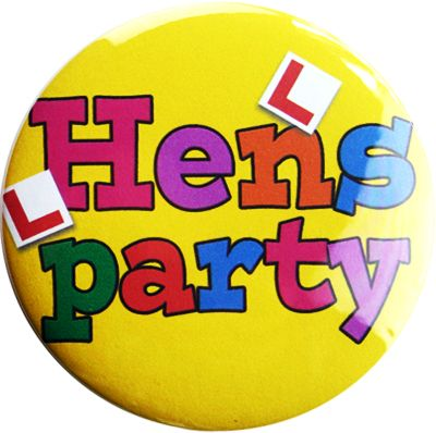 Hens Party Badge - Yellow.    A colourful, fun badge Hens Party Badge.    Get one for all the girls!