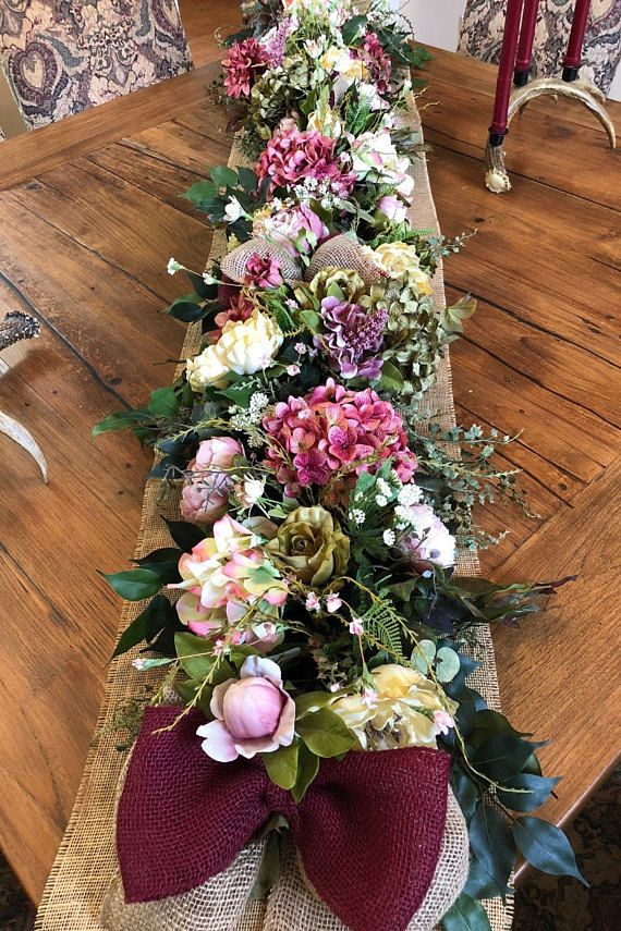 Silk Flower Garland Luxury Floral Table Runner Spring Summer Etsy Rustic Floral Decor Flower Garlands Floral Table Runner