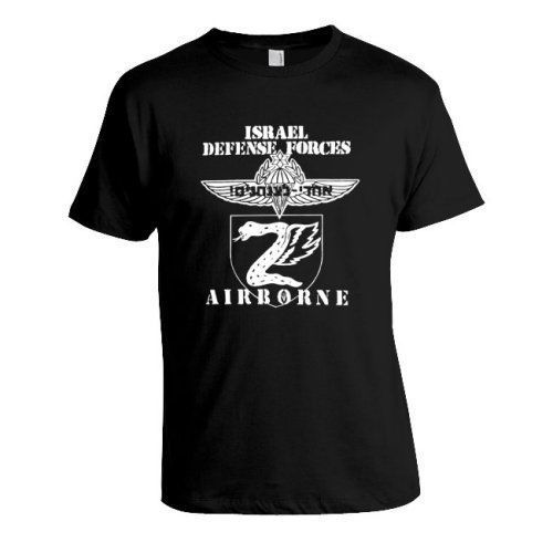 Israel-IDF-Army-Tzanhanim-Airborne-Paratroopers-White-Print-on-Black-T-Shirt