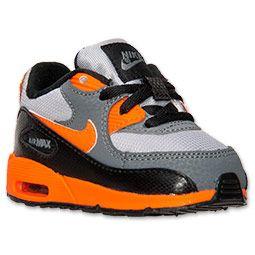Boys' Toddler Nike Air Max 90 Running Shoes| FinishLine.com | Wolf Grey/Total Orange/Black