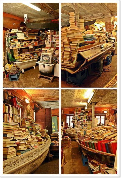 Most interesting bookstore in the world. Acqua Alta Bookstore in Venice…