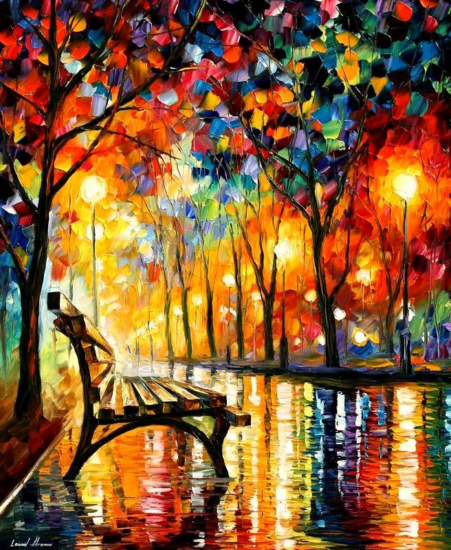 The Loneliness of Autumn by Leonida Fremov: Artists, Leonidafremov, Parks Benches, Central Parks, Vibrant Colors, Paintings, Leonid Afremov, Bright Colors, Parkbench