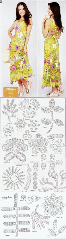 Το φόρεμα της κροσέ μοτίβα λουλουδιών.  Καλοκαιρινό φόρεμα από την περιγραφή κίνητρα |  Υπηρεσία καθαριότητας για όλη την οικογένεια.