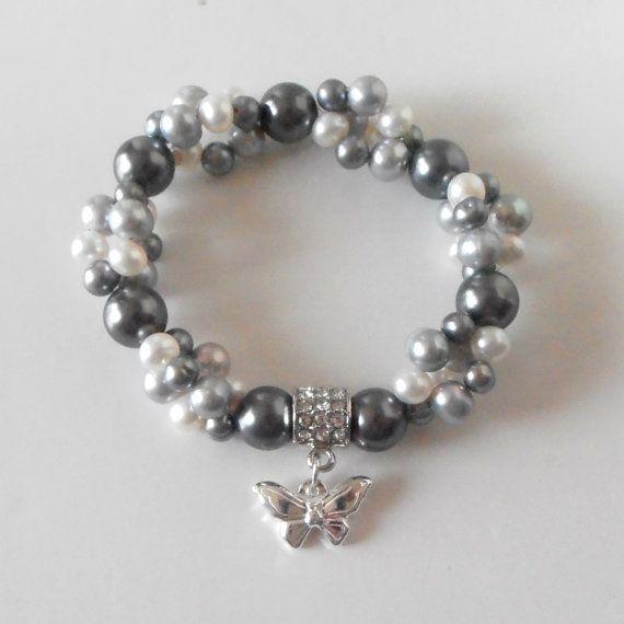 Pulsera de perlas agua dulce con el encanto de plata mariposa gris perla pulsera elástica multitrenza mariposa joyas regalos hechos a mano para mamá