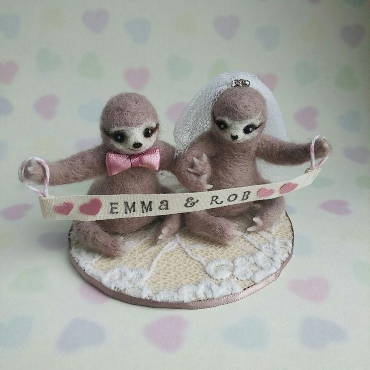 Sloth Cake Topper In Custom Dusky Pink By Mythillogical