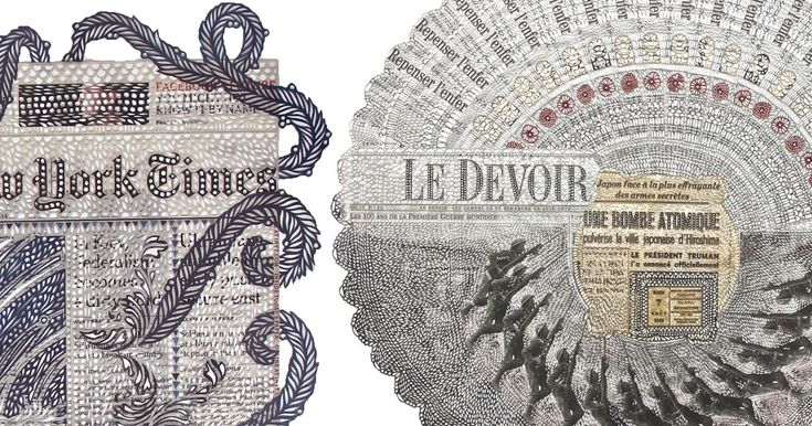 Sweeping Lace Patterns Cut into Dense Collages of Newspaper Covers by Myriam Dion