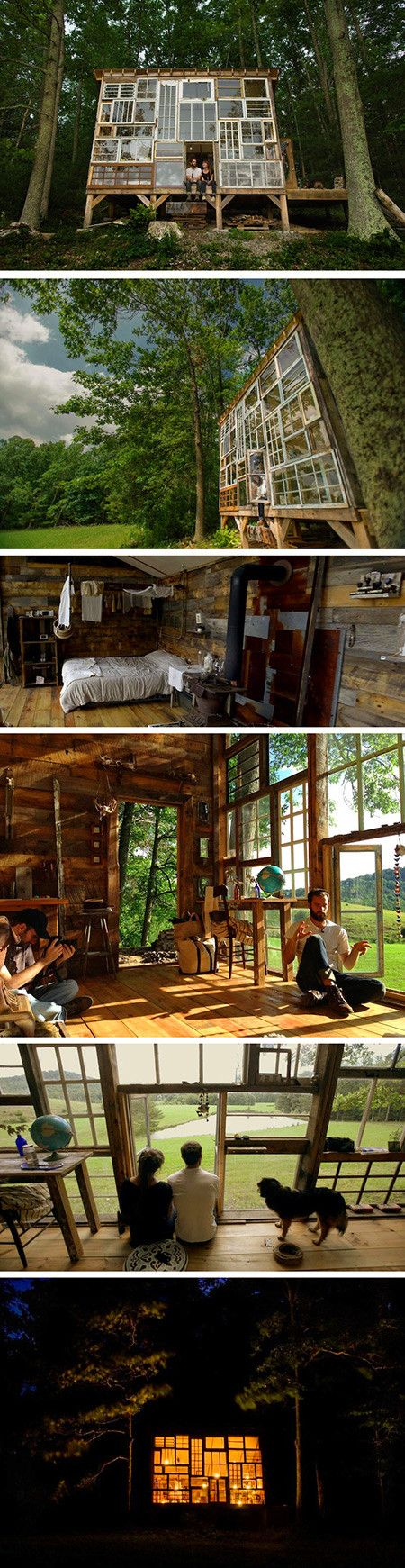 6 Pictures of a Beautiful Cabin in the Woods Built for $500, Made from Discarded Windows - TechEBlog