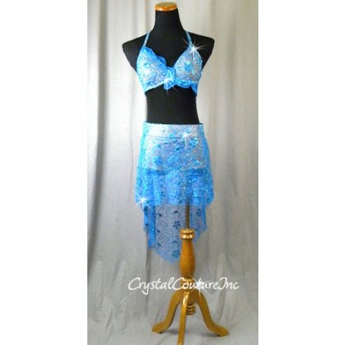 Teal Blue 2 Piece Halter Top and Skirt/Bootie Short - Swarovski Rhinestones - Size AM