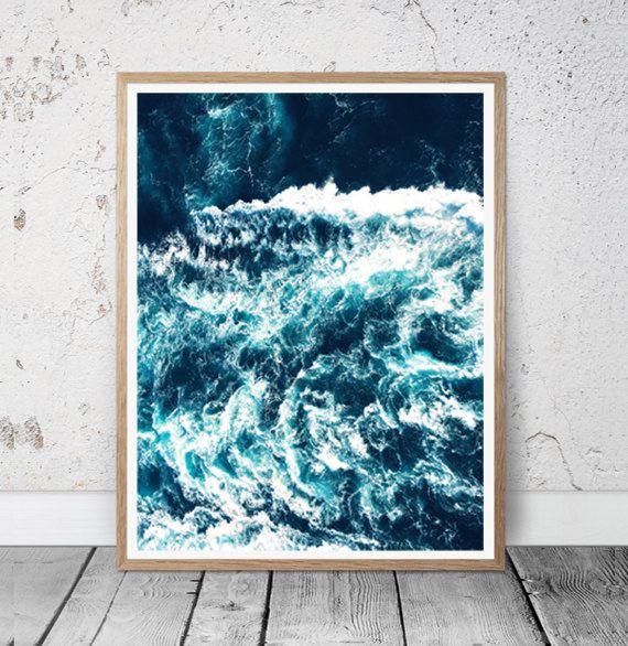 Ocean Waves Wall Art Print, Sea Waves Photo, Large Poster, Modern Minimal, Blue Waves, Beach Coastal Decor, Ocean, Water Abstract,