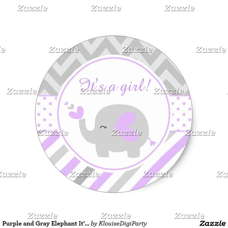 Purple and Gray Elephant It's A Girl Classic Round Sticker