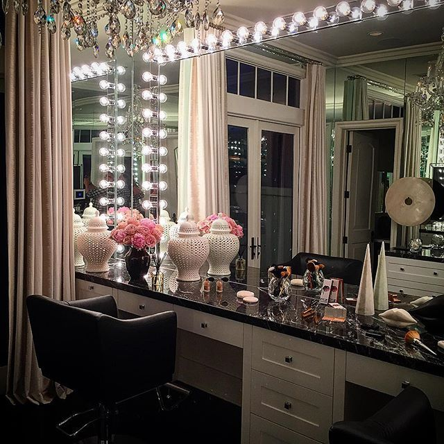 Every girls dream ... @khloekardashian's super glam #GlamRoom .. Behind the scenes at the @archdigest cover story shoot .... I designed this room for Khloe and the girls to get ready in with perfect lighting for make up and spectacular mirrored walls to see every angle ! A little crystal Chandalier provides the finishing touch of glamour ! #glamtastic #decoratewithabandon #DesignAndDecoration