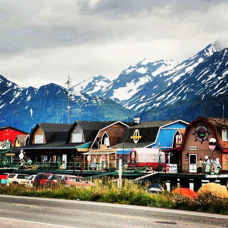 When visiting in Homer, Alaska... Take a drive out to the spit... You will be delighted to see all the cute little shops lined up along the beach!❤