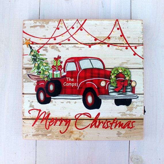 Lit Christmas Sign Rustic Vintage Red Truck Christmas Tree Christmas Red Truck Christmas Signs Red Christmas Tree