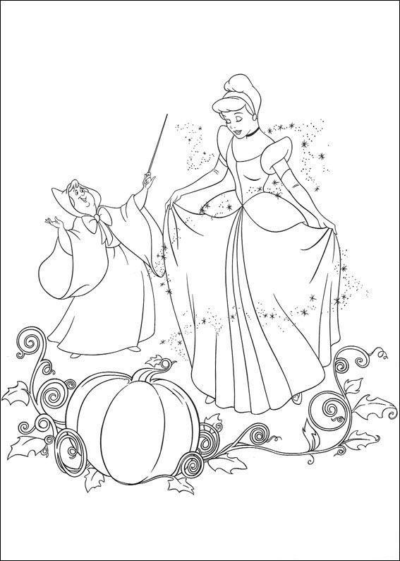kleurplaat Assepoester - Assepoester danst met de prins