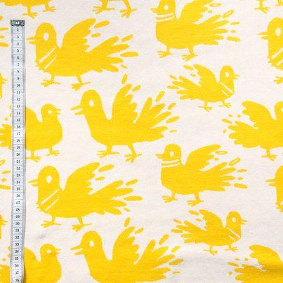 Pulubileet keltainen, kotimainen luomupuuvillaneulos / Pigeon party organic cotton jacquard knit / Käpynen