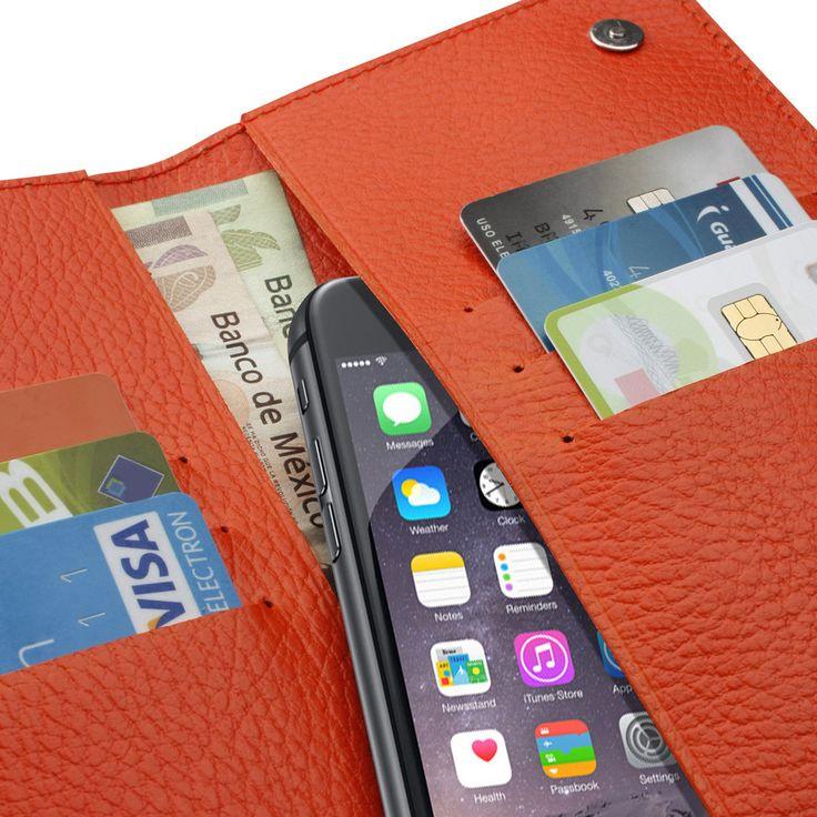 Cartera para teléfono :: Su diseño compacto te permitirá transportar tu iPhone, tarjetas bancarias y efectivo.