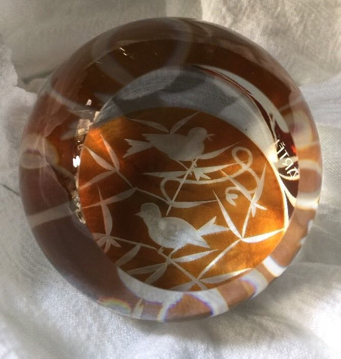ARTEL LUXURY ART GLASS CRYSTAL FINCH PAPERWEIGHT IN AMBER in Collectibles, Decorative Collectibles, Paperweights   eBay