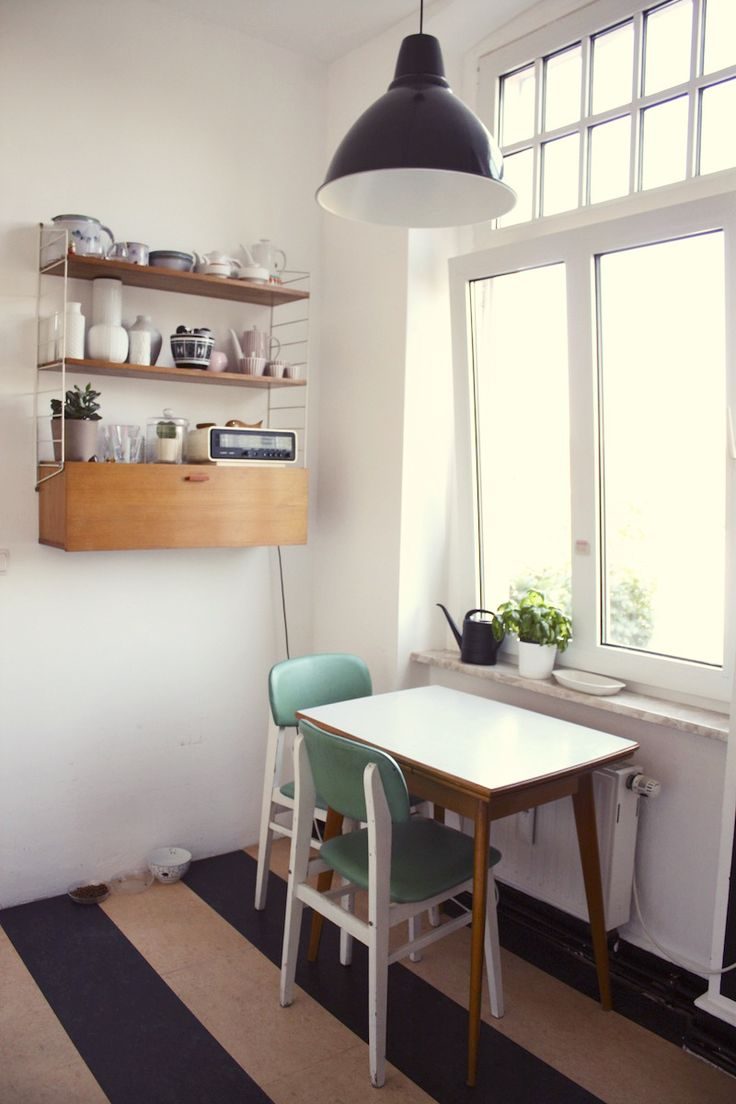Small kitchen table and cute shelves