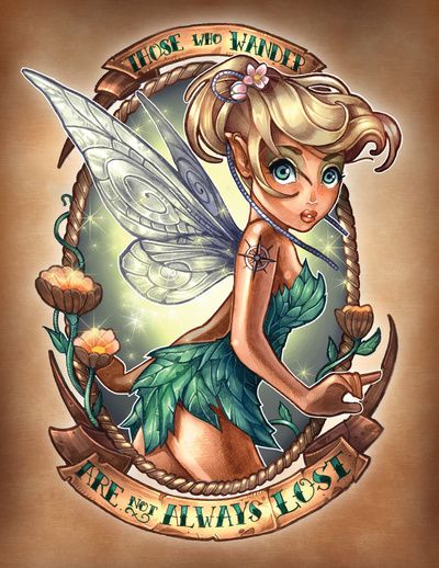 Artwork by: by Tim Shumate – Those Who Wander Are Not Always LostTattoo Ideas, Tattooideas, Disney Tattoo, Disney Princesses, Tinker Belle, A Tattoo, Pinup, Tinkerbell, Pin Up Girls