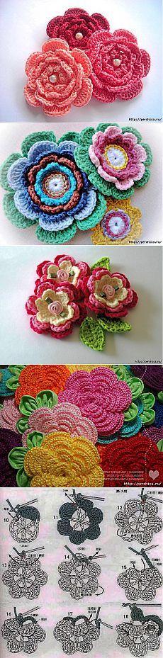 Разные варинаты многослойного цветка связанного крючком - идеи и мастер-классы