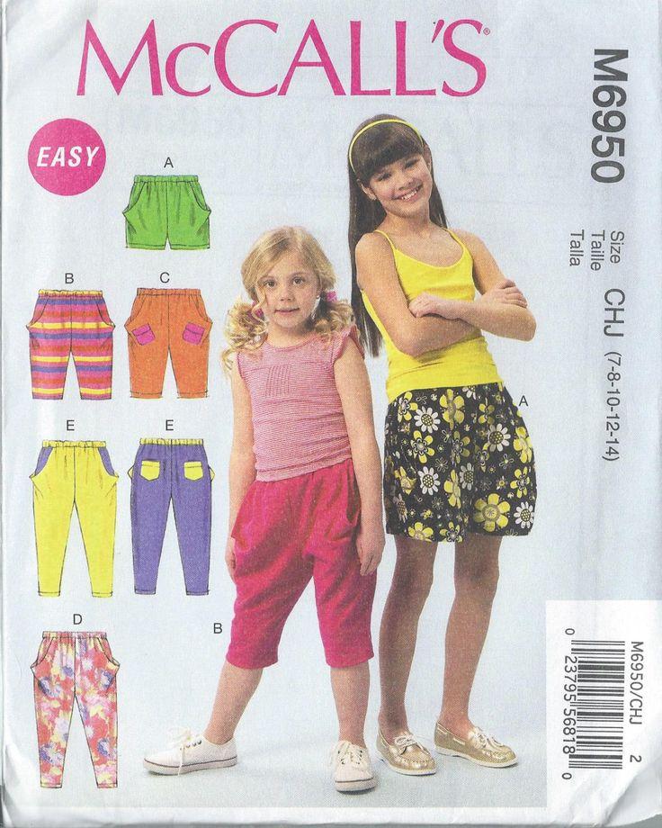McCalls, 6950, Girls Harem Shorts, Harem Pants, Sewing Pattern, Size 7, Size 8, Size 10, Size 12,  Size 14, Child Harem Shorts, Pants by SodaCityFinds on Etsy