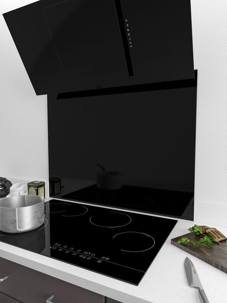 Image result for splashback/tiles with angled cooker hood