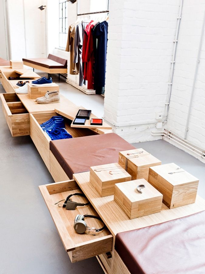 Plywood display fixtures in the K-MB Showroom #retail #design
